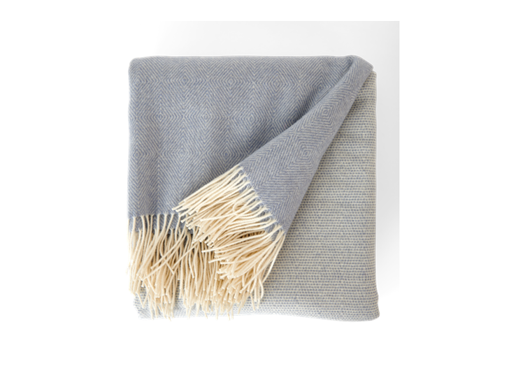 Helmshore throw, flax blue, above