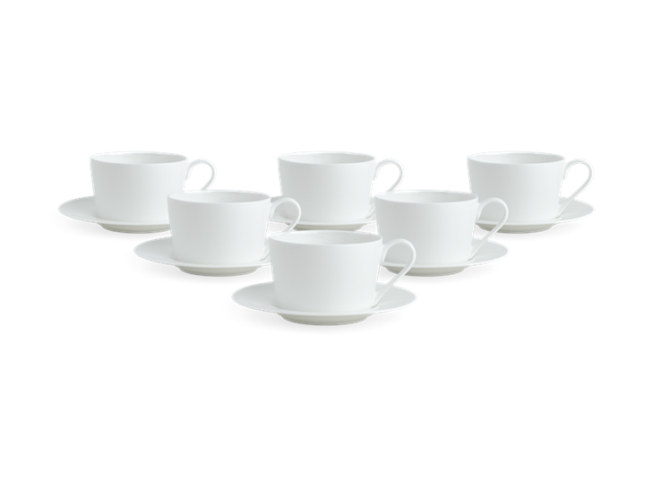 Fenton Tea Cup and Saucer Set of 6 White