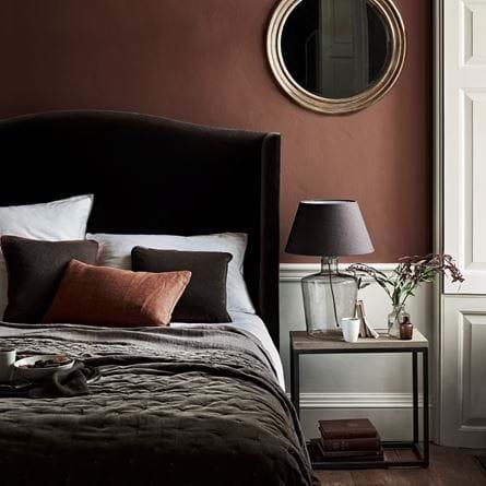 Autumnal Bedroom Interiors with Velvet Charlie Headboard