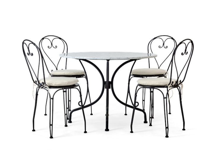 Boscombe 4 Seater Table, Black & marble_front_chairs
