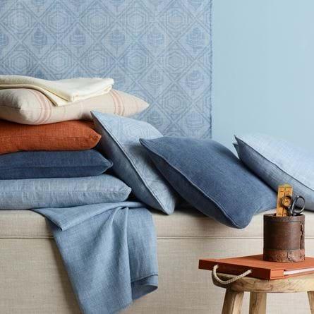 Seasonal Fabric Flax Blue and Rust