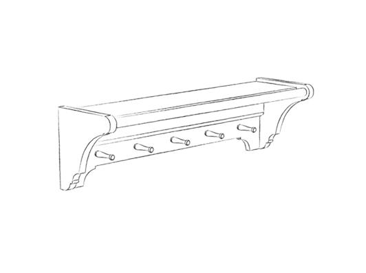 CHIK-LAU-SHELF-960 960 laundry shelf - 5 pegs
