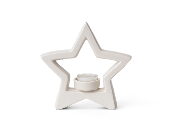 Aster star tea light holder - front w-candle