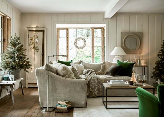 Tussock sheepskin cushion on sofa