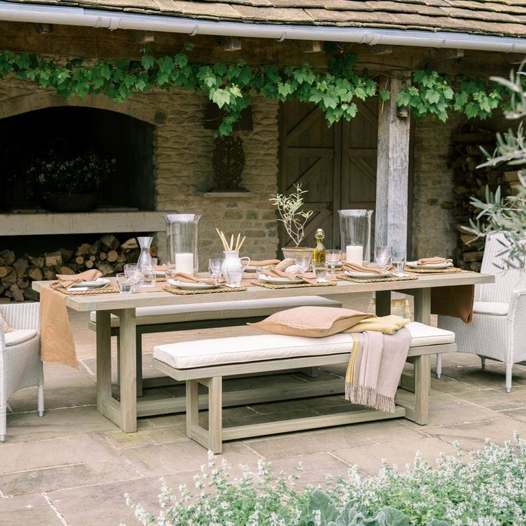 SS20 PEMBREY TABLE & BENCH, CHATTO CHAIRS