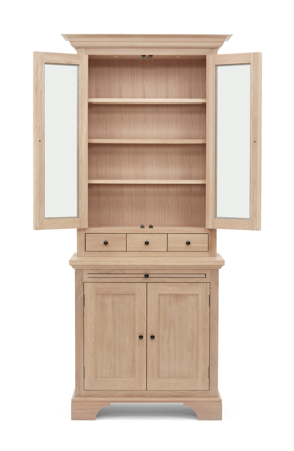 Henley 3ft Glazed Oak Dresser Top Front Doors Open