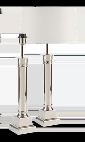 Imperial Nickel Column Lamp & Shade