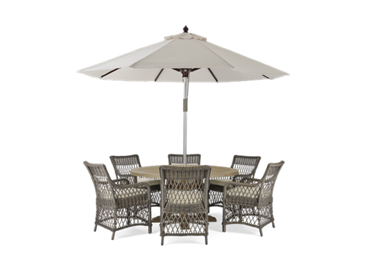 6 Seater Harmondsworth and Harrington Carver Chair Set with Spinnaker 3m Parasol