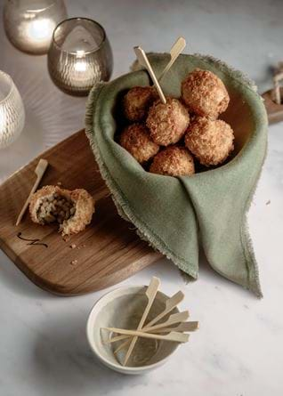 Neptune food, pearl barley and truffle arrancini