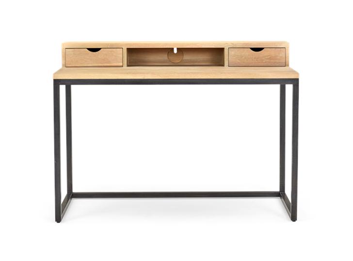 Carter 120 Desk - Black Steel _ Dark Vintage Oak Front
