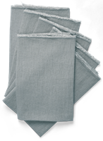 Antonia Fringed Napkins, Set of 6, Pale Blue