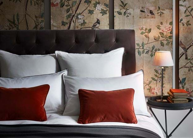 Bed with Antique Panels and Hanover Medium Lamp