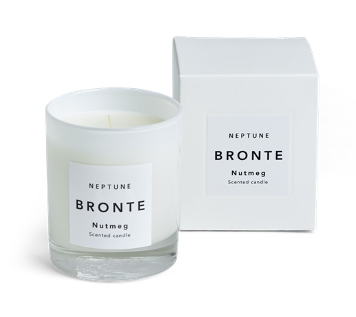Bronte Nutmeg Scented Candle, White Box