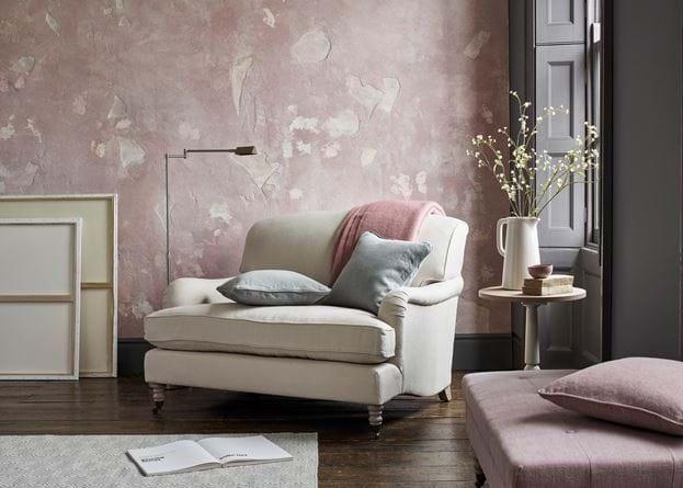 Olivia Loveseat Chetham Reading Lamp Corner Pink Textured Walls