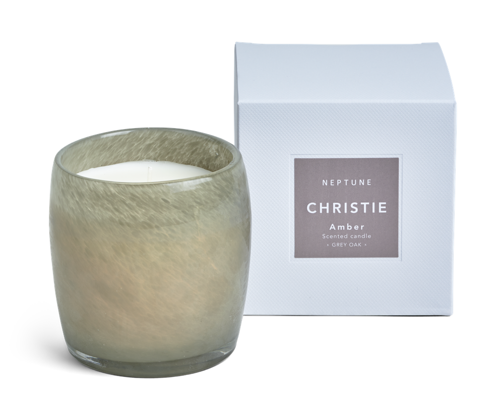 Christie Candle, Amber Scented - Grey Oak Box
