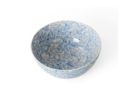 Olney serving bowl, small, flax blue_3quarter