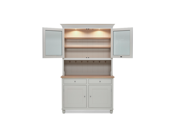 Suffolk 4ft glazed Dresser Silver Birch Front Open LIGHTS ┬® Robert Smith 2020