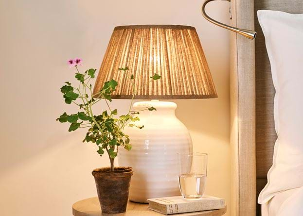 Corinium Table Lamp with Henry Gathered Lampshade