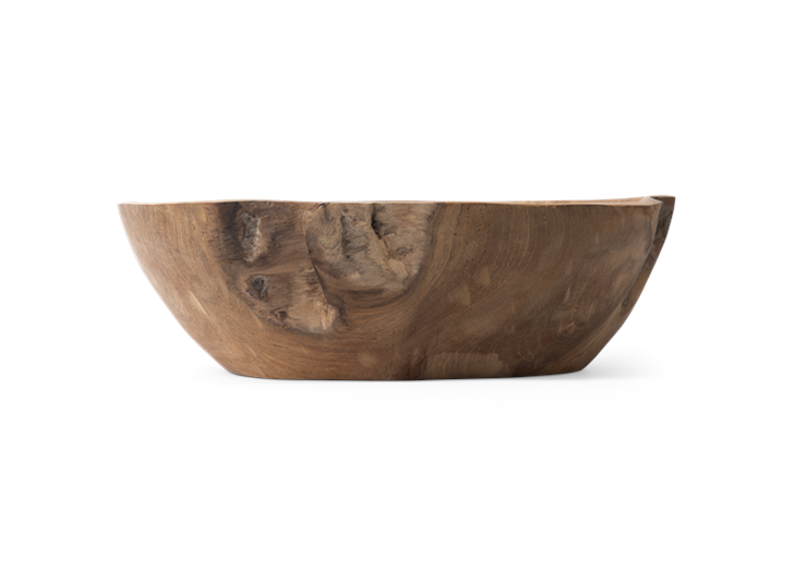Stanton teak round bowl, Medium, side