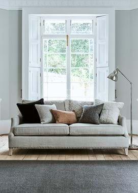 Grace scatter cushion Harris Tweed on sofa