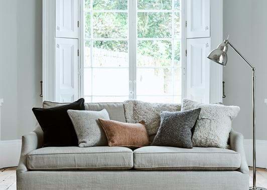 Tussock cushion on sofa