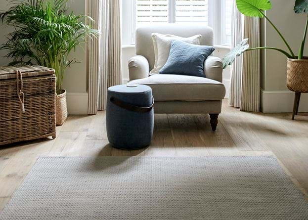 Longford oatmeal rug in living room
