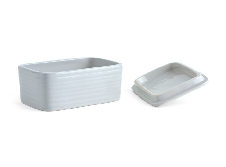 Lewes Butter Dish Grey_3Quarter Lid Off